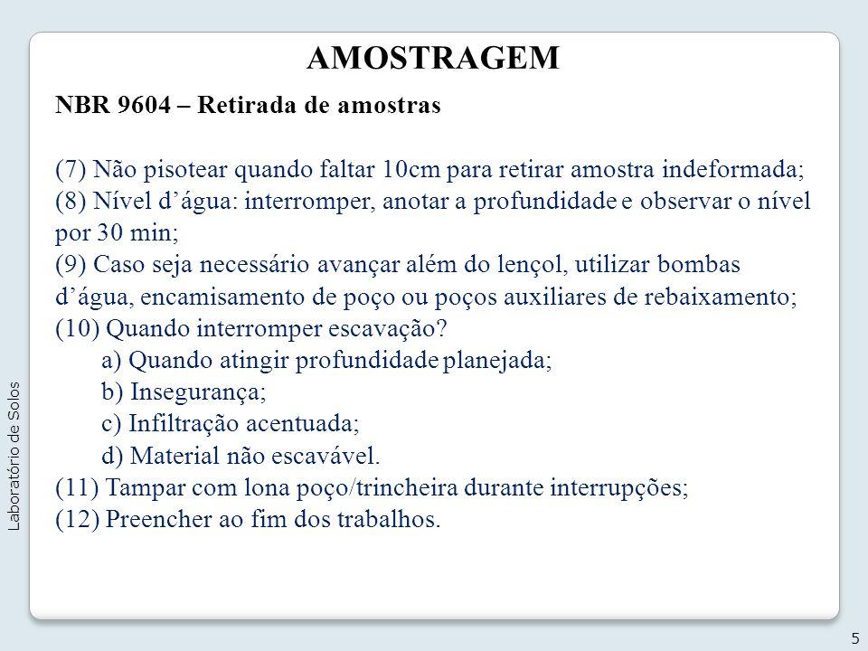 AMOSTRAGEM NBR 9604 – Retirada de amostras