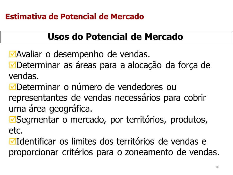 Usos do Potencial de Mercado