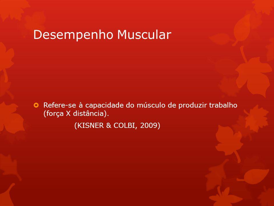 Desempenho Muscular Refere-se à capacidade do músculo de produzir trabalho (força X distância).