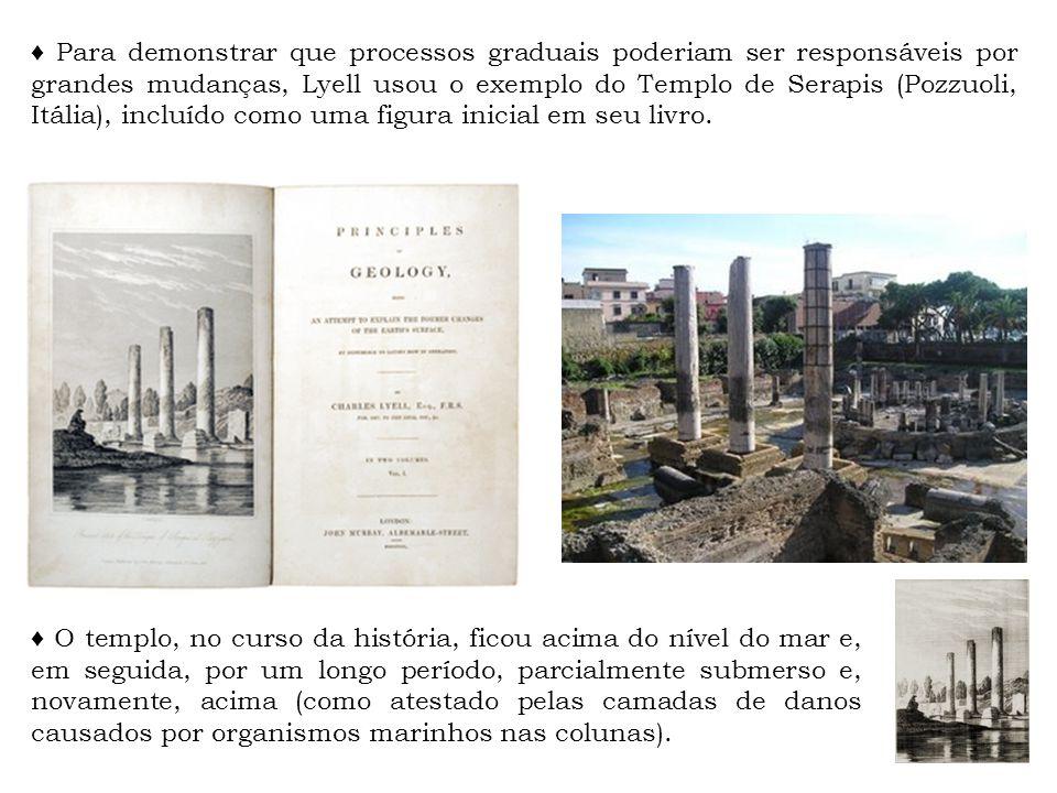 ♦ Para demonstrar que processos graduais poderiam ser responsáveis por grandes mudanças, Lyell usou o exemplo do Templo de Serapis (Pozzuoli, Itália), incluído como uma figura inicial em seu livro.
