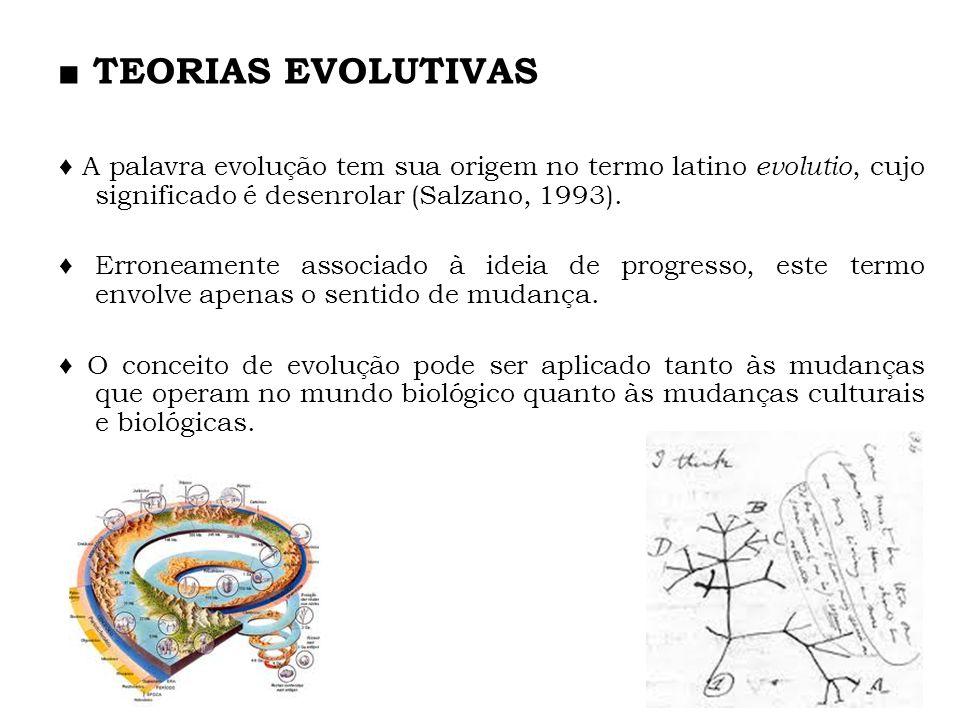 ■ TEORIAS EVOLUTIVAS ♦ A palavra evolução tem sua origem no termo latino evolutio, cujo significado é desenrolar (Salzano, 1993).