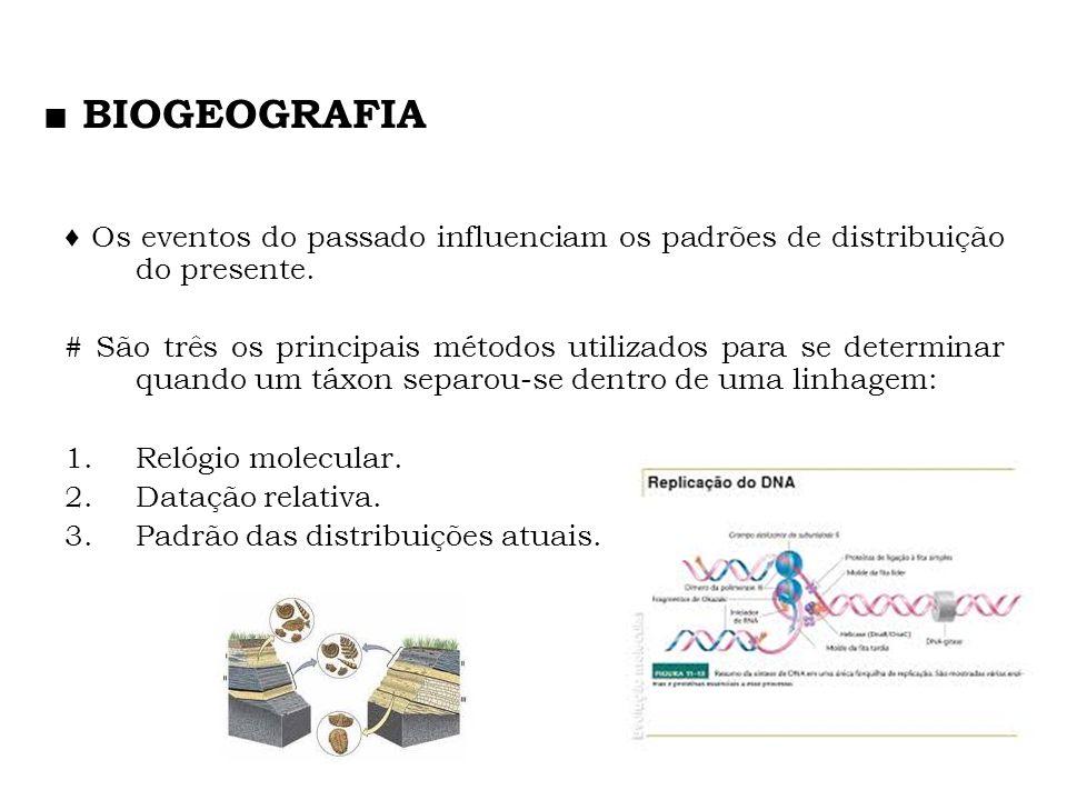 ■ BIOGEOGRAFIA ♦ Os eventos do passado influenciam os padrões de distribuição do presente.