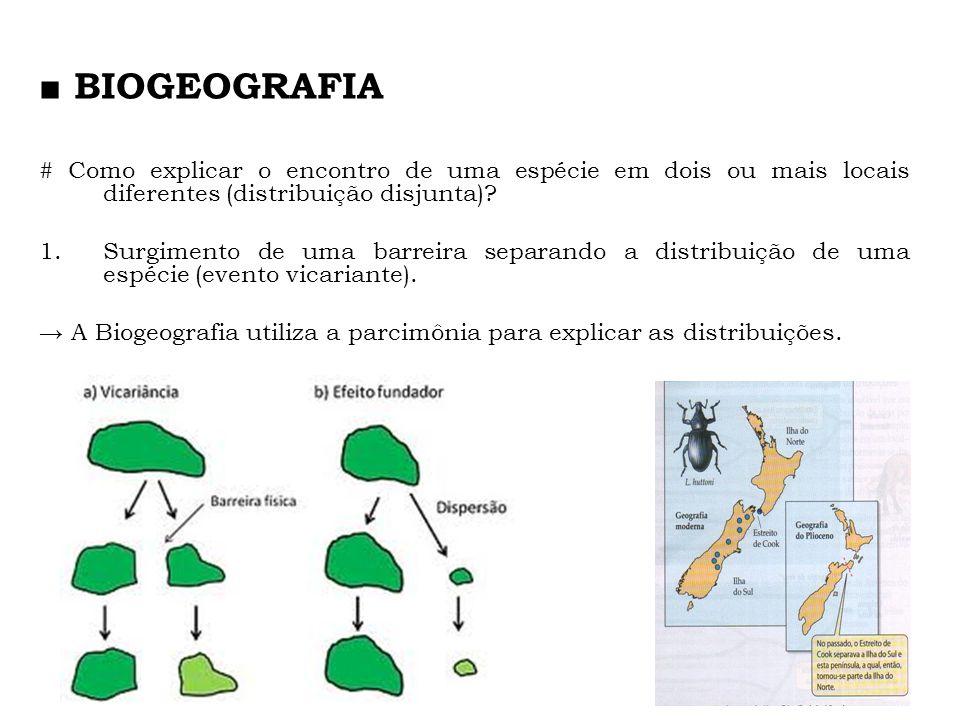 ■ BIOGEOGRAFIA # Como explicar o encontro de uma espécie em dois ou mais locais diferentes (distribuição disjunta)