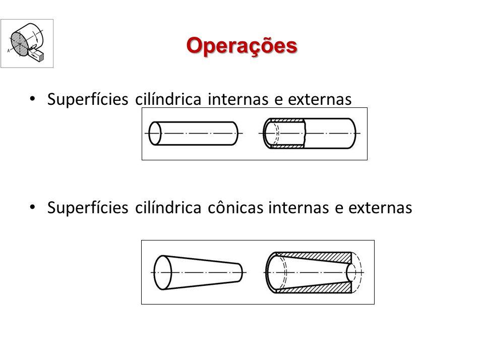 Operações Superfícies cilíndrica internas e externas