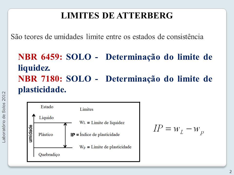 NBR 6459: SOLO - Determinação do limite de liquidez.