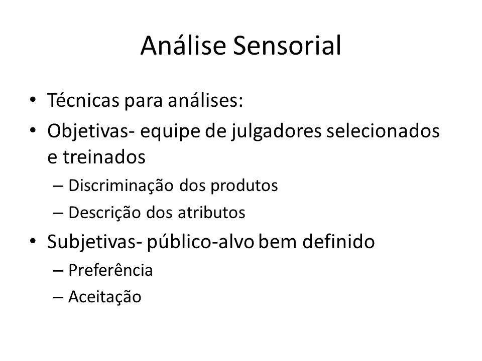 Análise Sensorial Técnicas para análises: