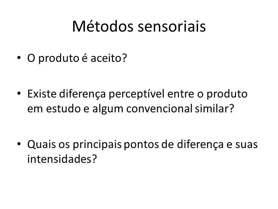 Métodos sensoriais O produto é aceito