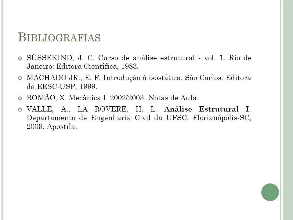 Bibliografias SÜSSEKIND, J. C. Curso de análise estrutural - vol. 1. Rio de Janeiro: Editora Científica, 1983.