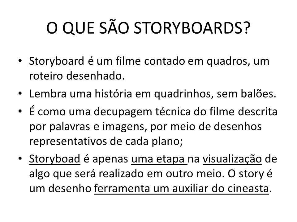 O QUE SÃO STORYBOARDS Storyboard é um filme contado em quadros, um roteiro desenhado. Lembra uma história em quadrinhos, sem balões.