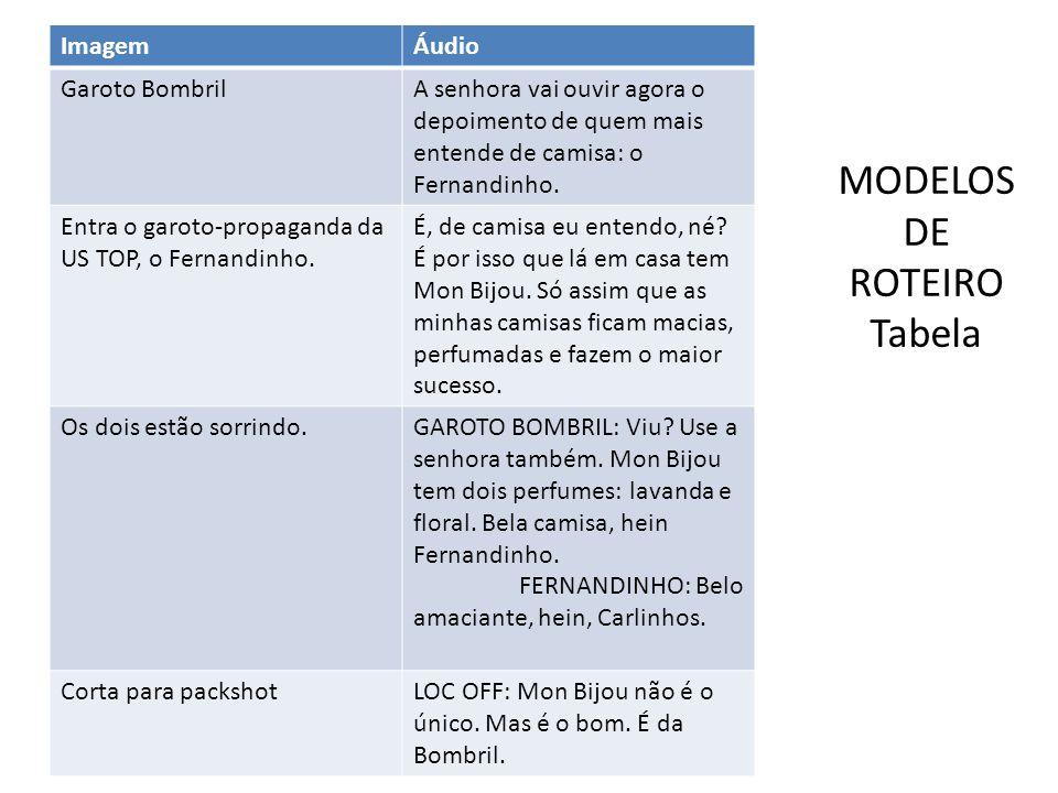 MODELOS DE ROTEIRO Tabela