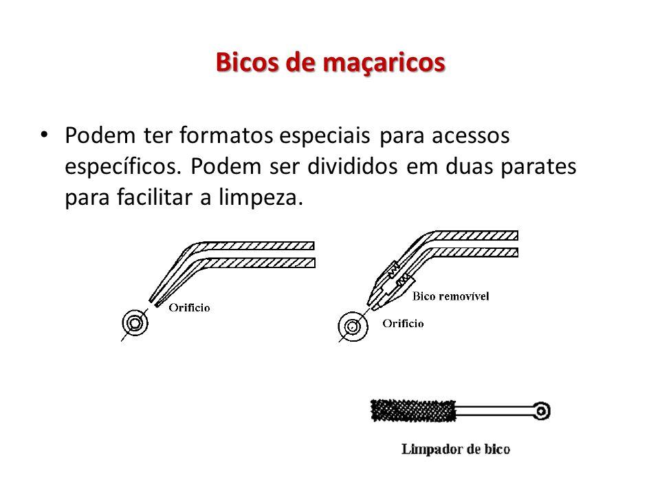 Bicos de maçaricos Podem ter formatos especiais para acessos específicos.