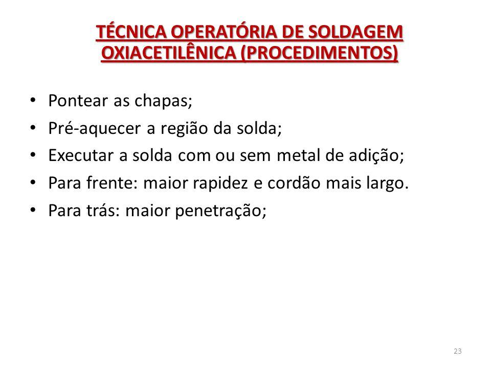 TÉCNICA OPERATÓRIA DE SOLDAGEM OXIACETILÊNICA (PROCEDIMENTOS)
