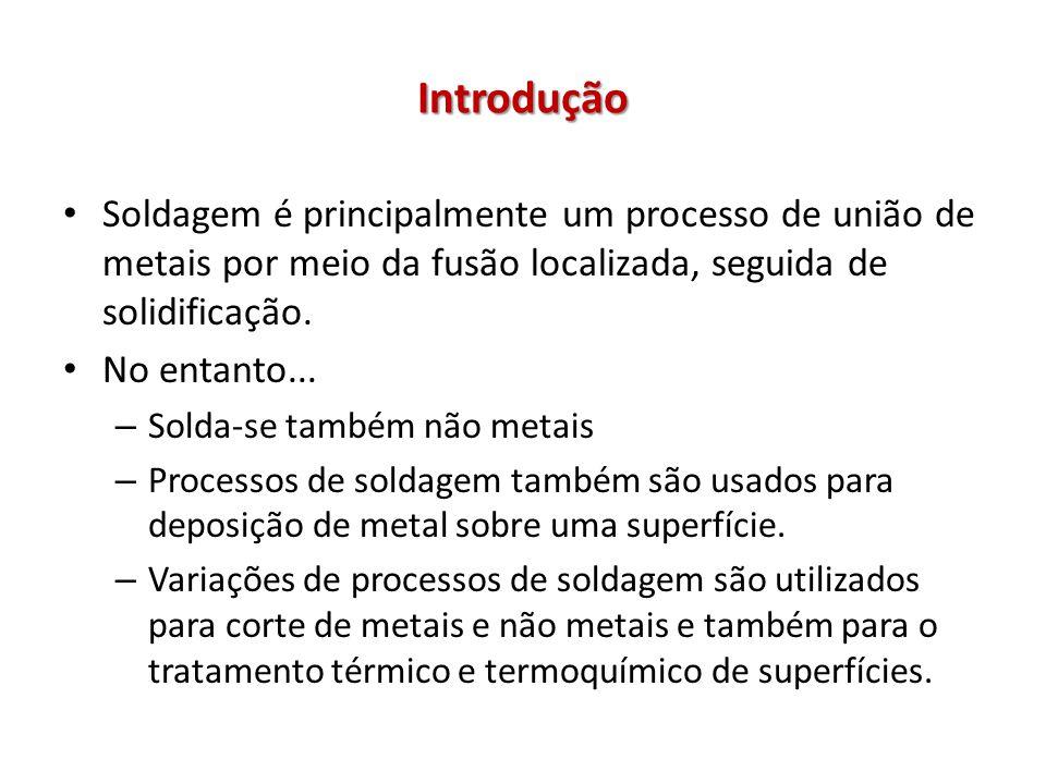 Introdução Soldagem é principalmente um processo de união de metais por meio da fusão localizada, seguida de solidificação.