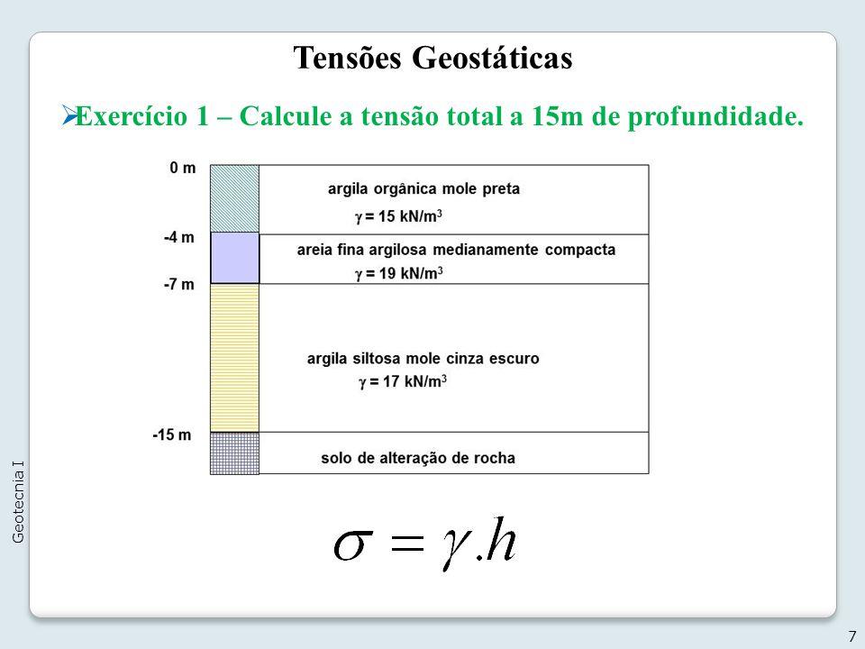 Tensões Geostáticas Exercício 1 – Calcule a tensão total a 15m de profundidade. Geotecnia I