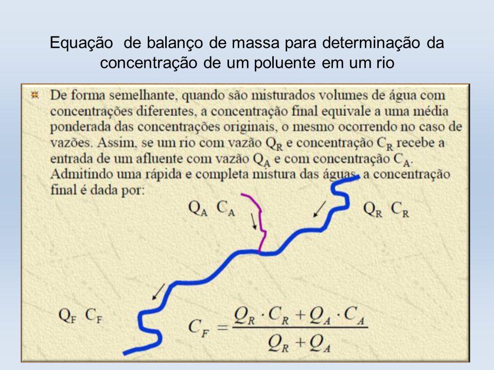Equação de balanço de massa para determinação da concentração de um poluente em um rio