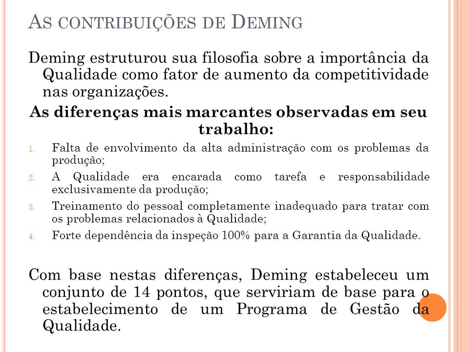 As contribuições de Deming