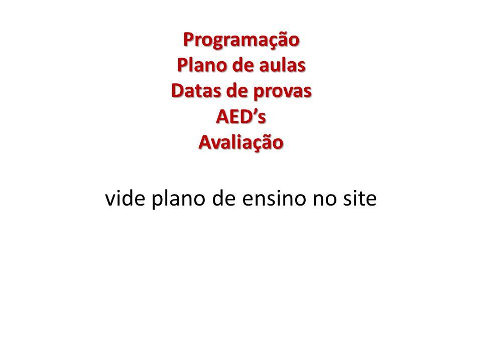 Programação Plano de aulas Datas de provas AED's Avaliação