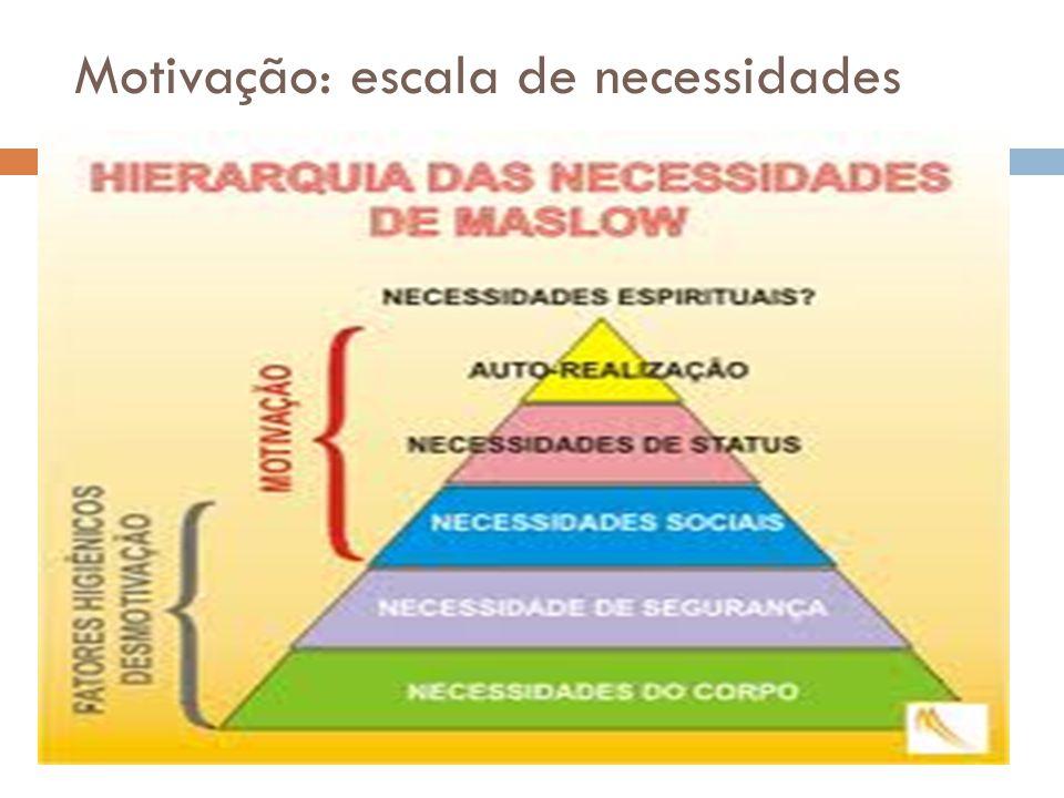 Motivação: escala de necessidades