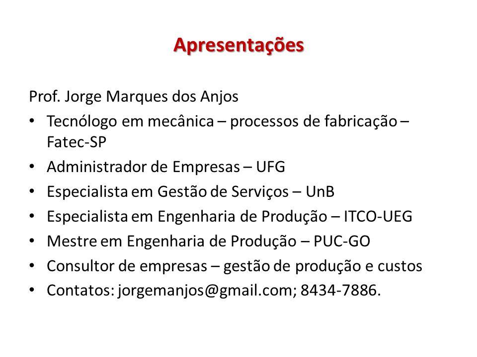 Apresentações Prof. Jorge Marques dos Anjos