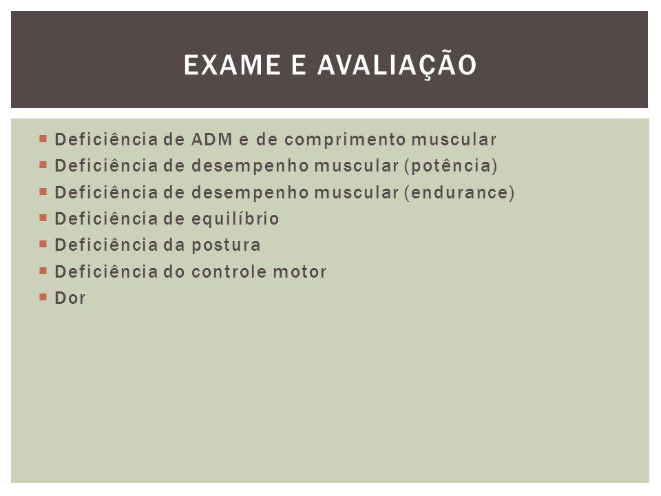 Exame e avaliação Deficiência de ADM e de comprimento muscular