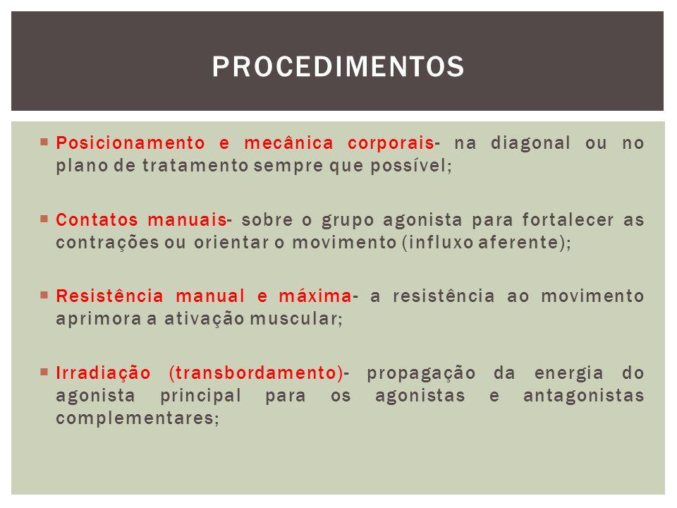 procedimentos Posicionamento e mecânica corporais- na diagonal ou no plano de tratamento sempre que possível;