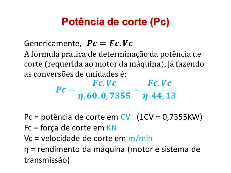 Potência de corte (Pc) Genericamente, 𝑷𝒄=𝑭𝒄.𝑽𝒄
