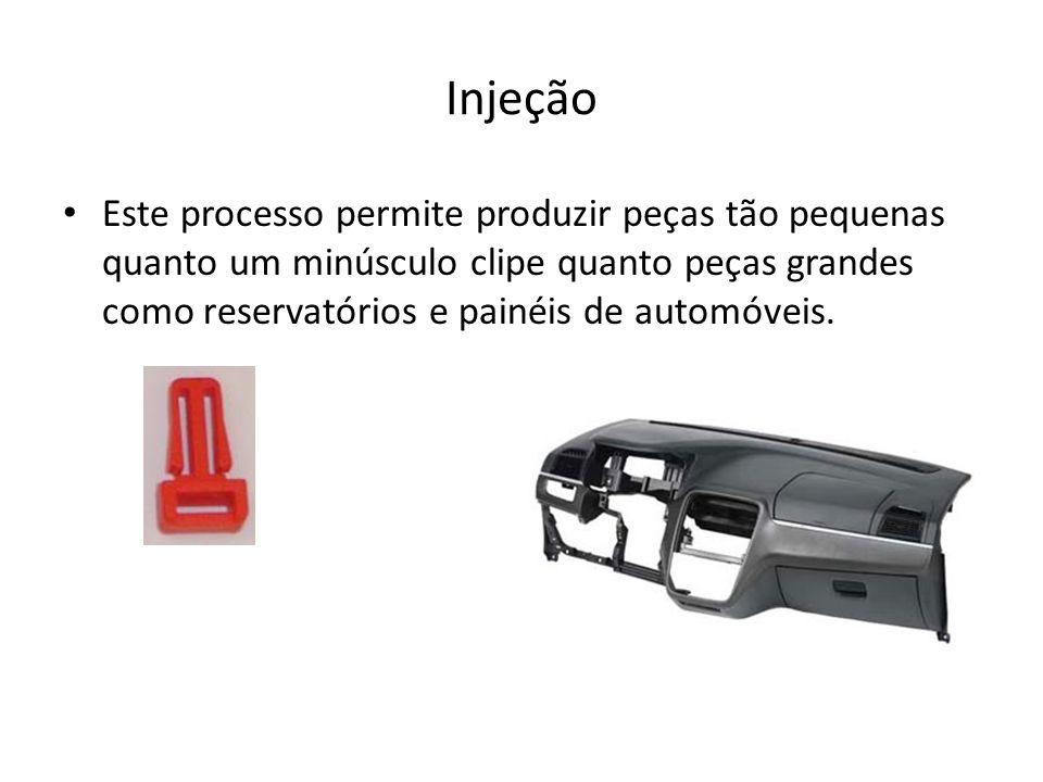 Injeção Este processo permite produzir peças tão pequenas quanto um minúsculo clipe quanto peças grandes como reservatórios e painéis de automóveis.