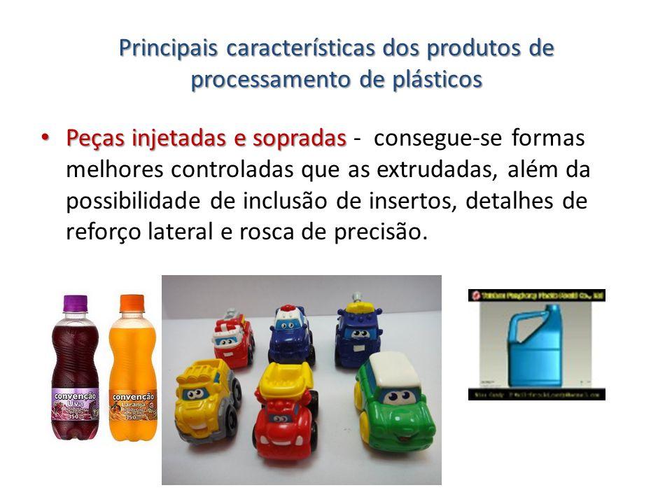 Principais características dos produtos de processamento de plásticos