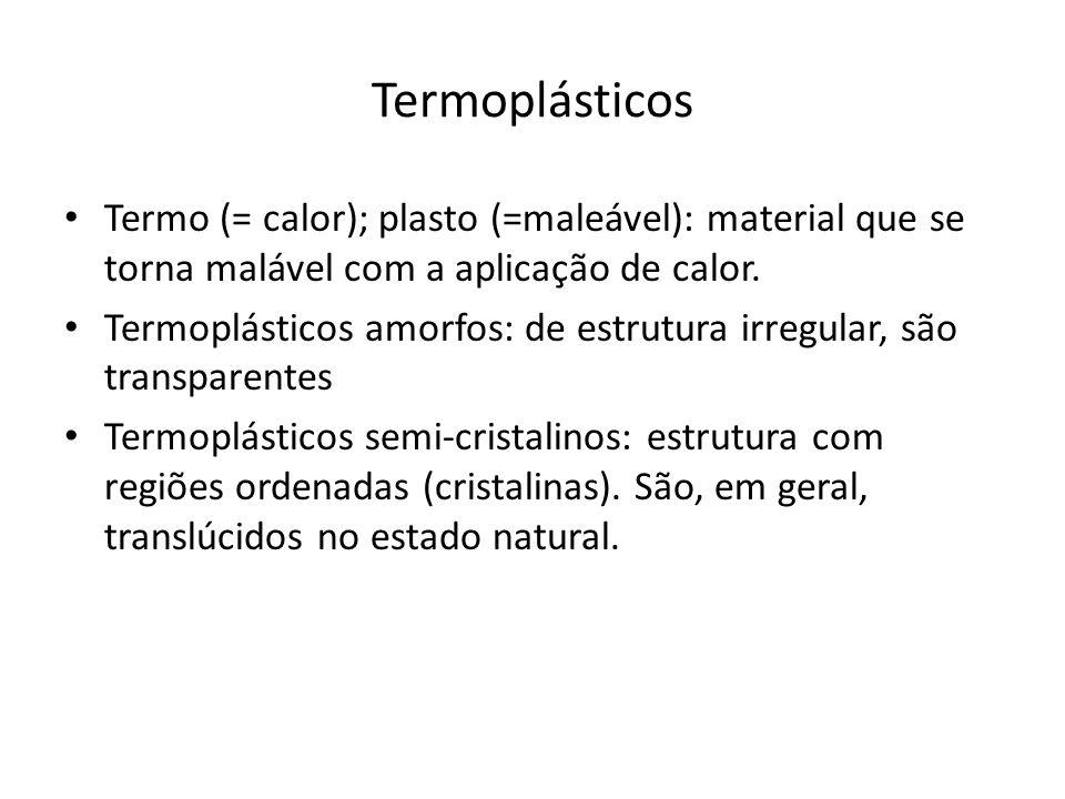 Termoplásticos Termo (= calor); plasto (=maleável): material que se torna malável com a aplicação de calor.