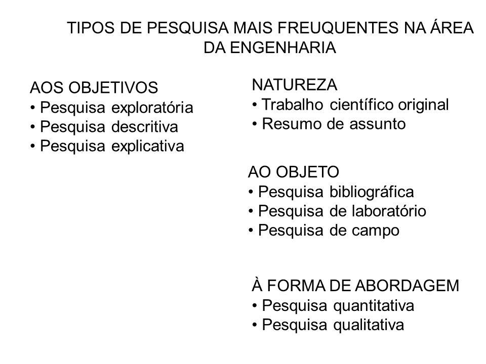 TIPOS DE PESQUISA MAIS FREUQUENTES NA ÁREA DA ENGENHARIA