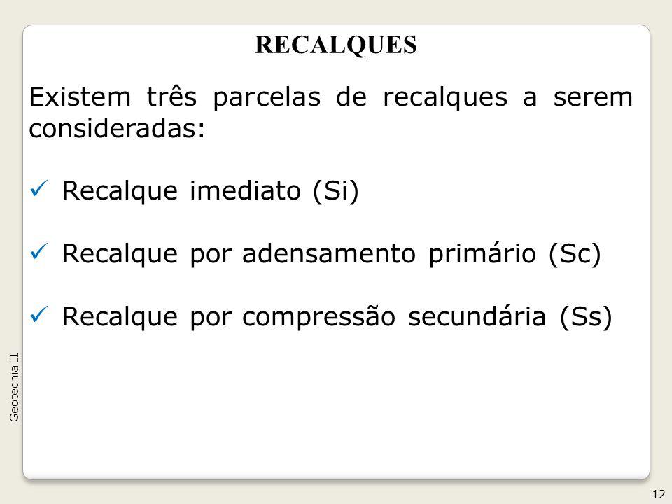 Existem três parcelas de recalques a serem consideradas: