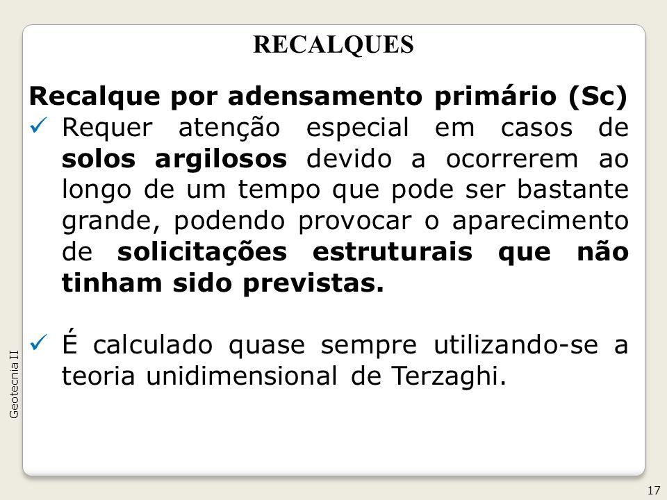 Recalque por adensamento primário (Sc)