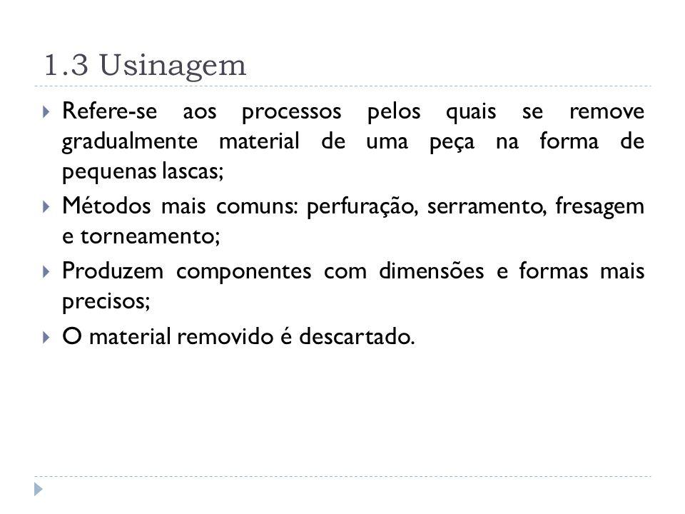 1.3 Usinagem Refere-se aos processos pelos quais se remove gradualmente material de uma peça na forma de pequenas lascas;