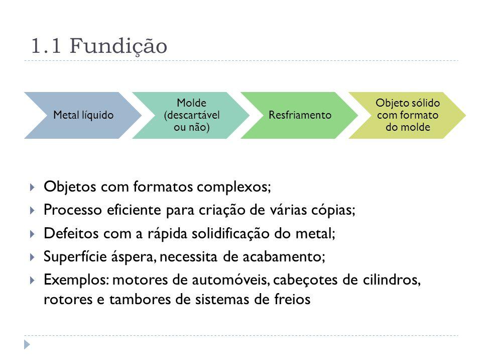 1.1 Fundição Objetos com formatos complexos;