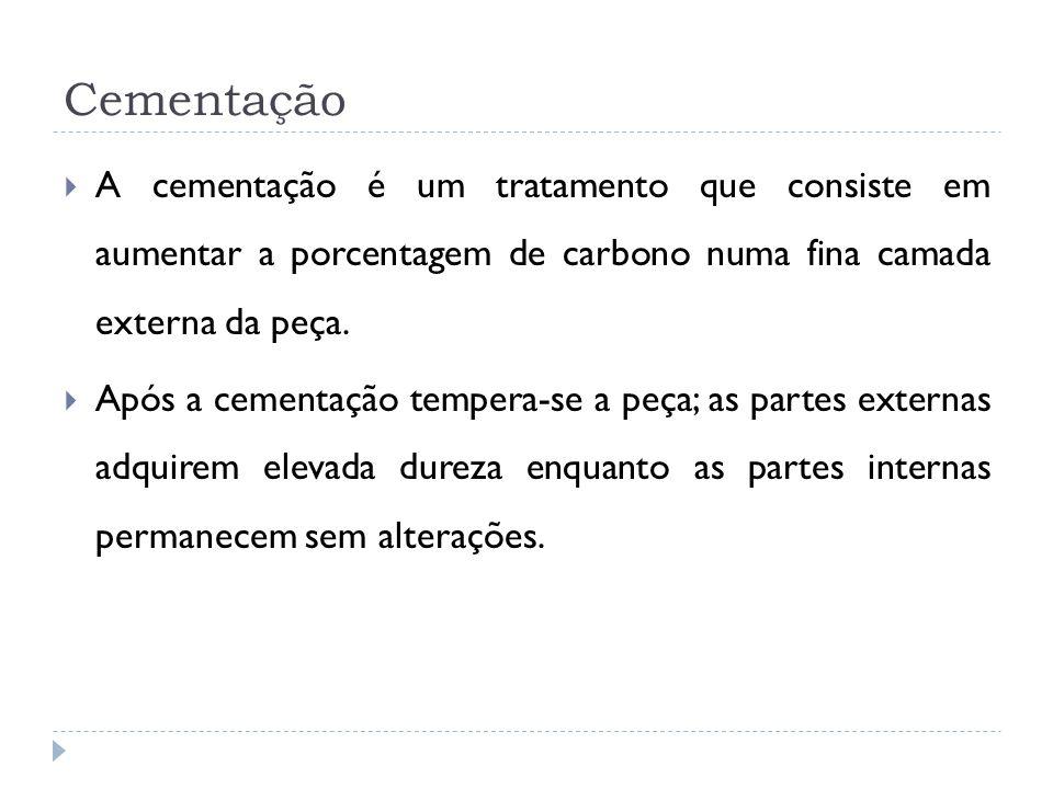 Cementação A cementação é um tratamento que consiste em aumentar a porcentagem de carbono numa fina camada externa da peça.