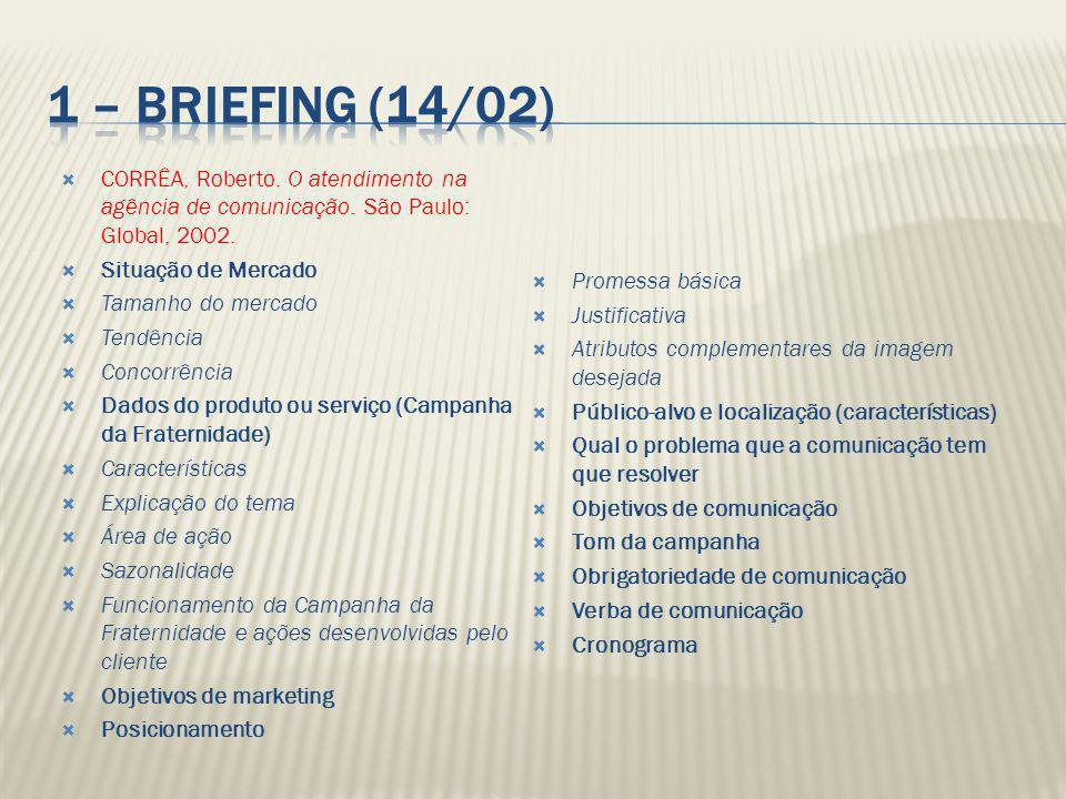 1 – Briefing (14/02) CORRÊA, Roberto. O atendimento na agência de comunicação. São Paulo: Global, 2002.