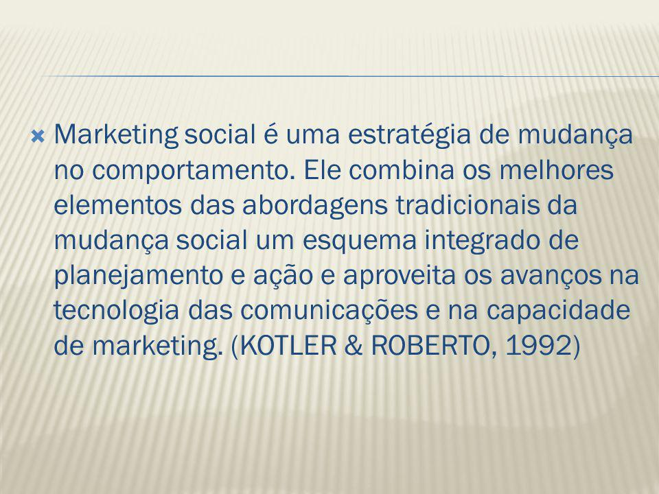 Marketing social é uma estratégia de mudança no comportamento
