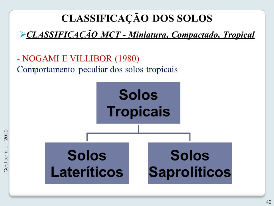 Solos Tropicais Solos Lateríticos Solos Saprolíticos