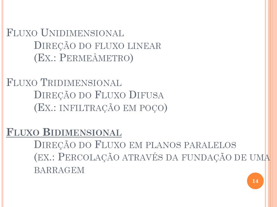 Fluxo Unidimensional. Direção do fluxo linear. (Ex