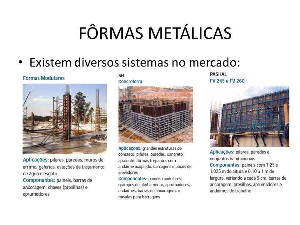 FÔRMAS METÁLICAS Existem diversos sistemas no mercado: