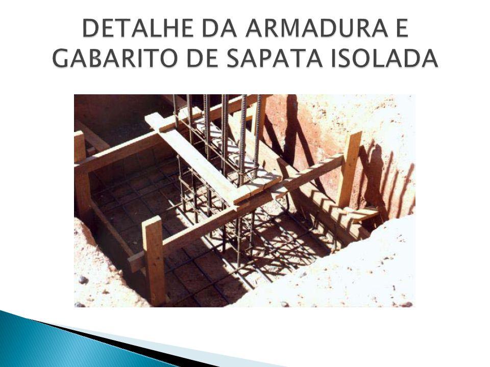 DETALHE DA ARMADURA E GABARITO DE SAPATA ISOLADA