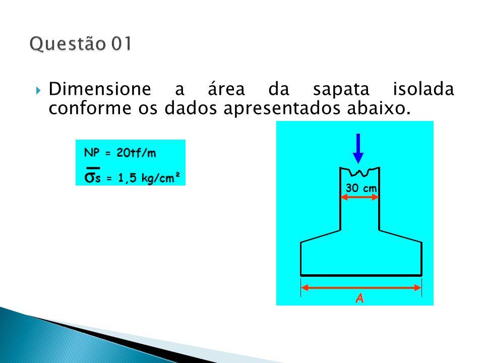 Questão 01 Dimensione a área da sapata isolada conforme os dados apresentados abaixo.