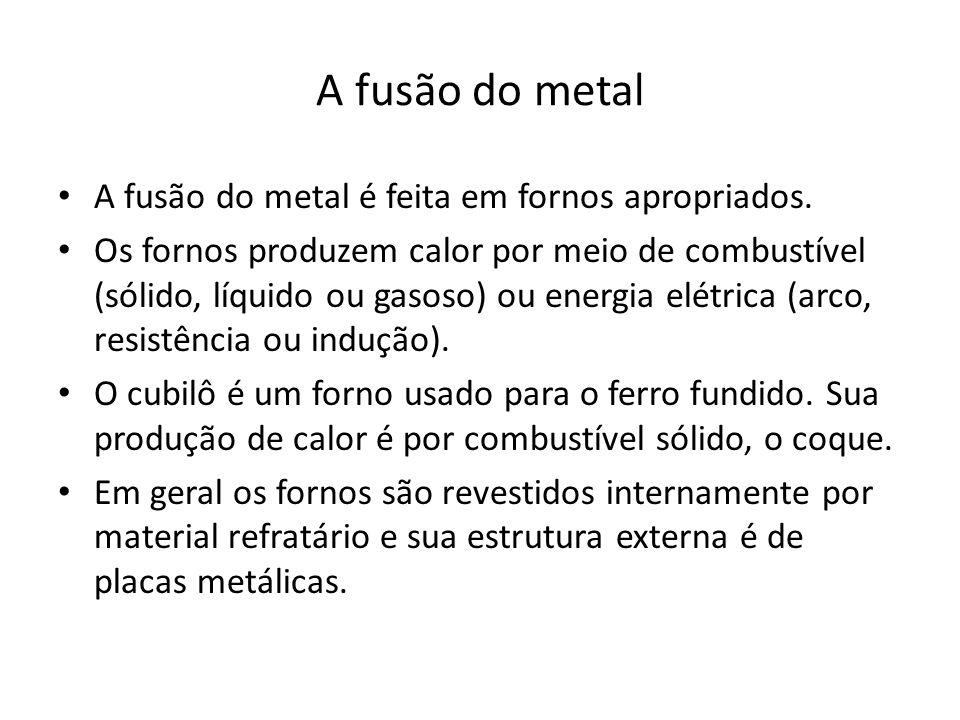 A fusão do metal A fusão do metal é feita em fornos apropriados.