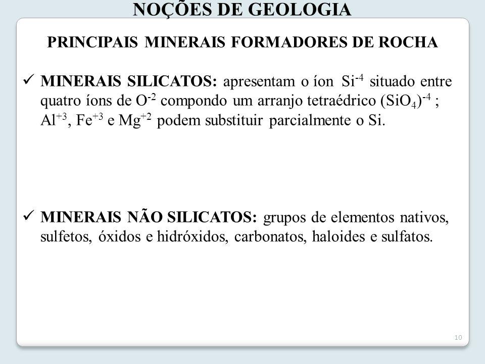 PRINCIPAIS MINERAIS FORMADORES DE ROCHA