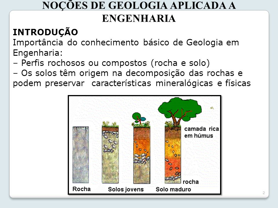 NOÇÕES DE GEOLOGIA APLICADA A ENGENHARIA