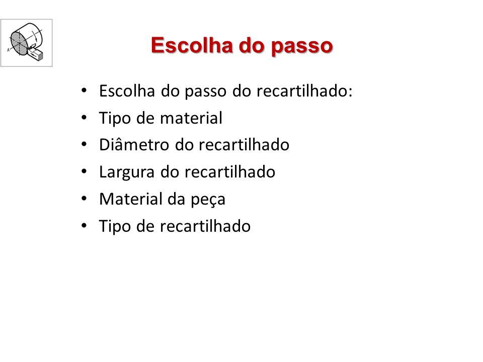 Escolha do passo Escolha do passo do recartilhado: Tipo de material