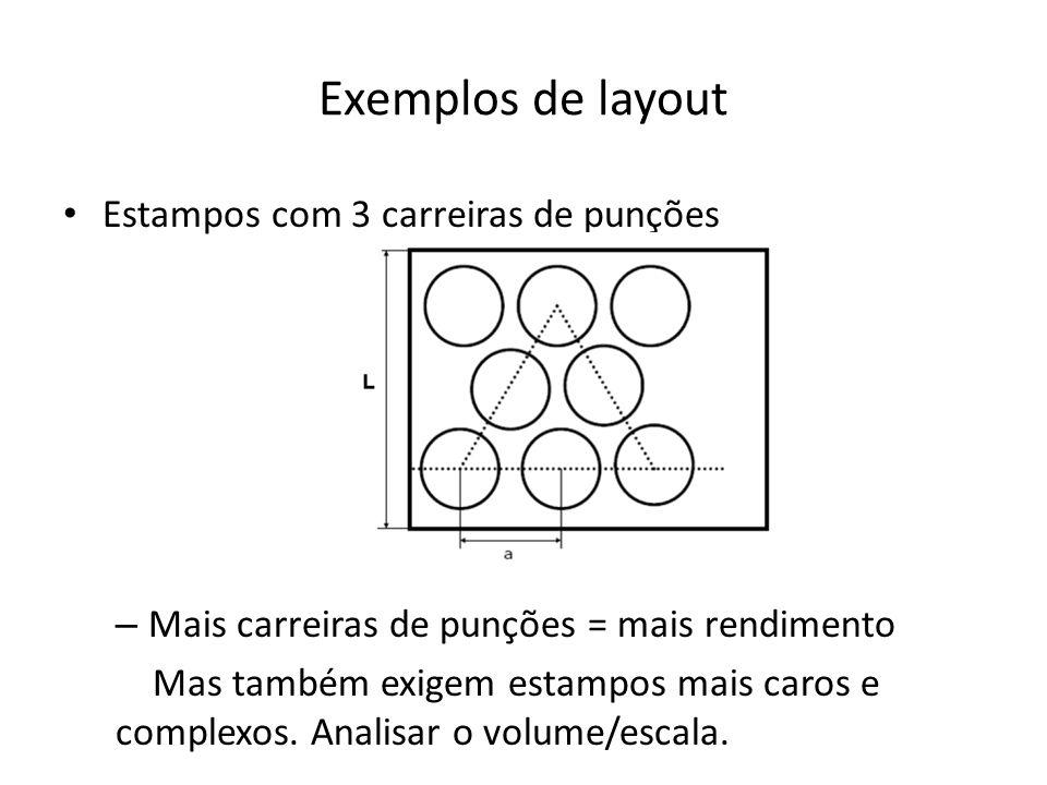 Exemplos de layout Estampos com 3 carreiras de punções