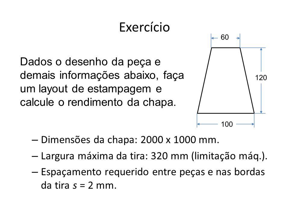 Exercício Dimensões da chapa: 2000 x 1000 mm. Largura máxima da tira: 320 mm (limitação máq.).