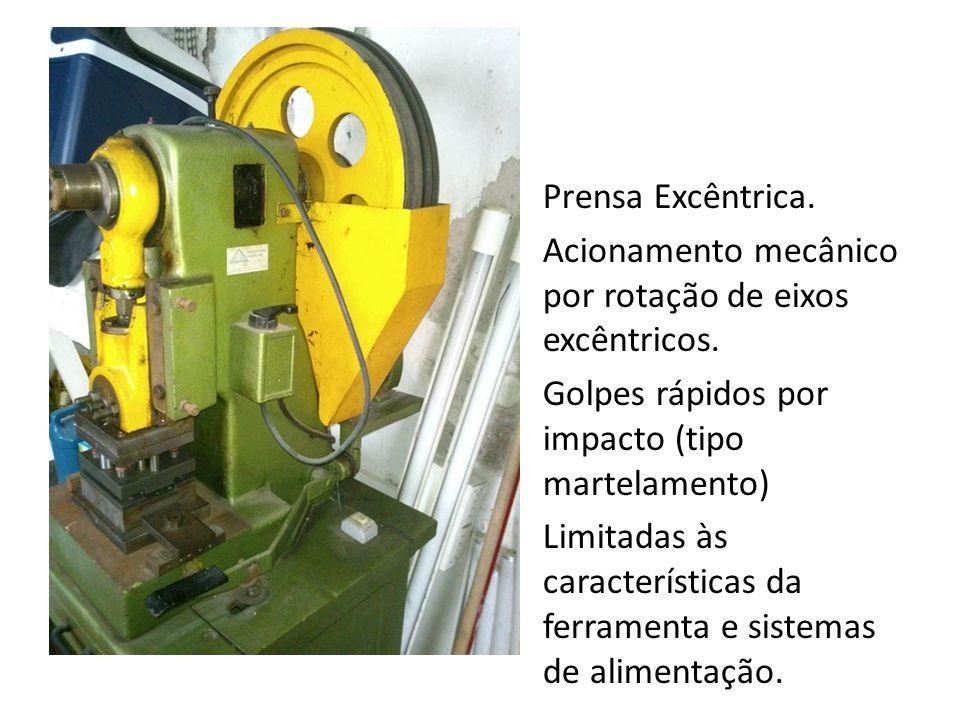 Prensa Excêntrica. Acionamento mecânico por rotação de eixos excêntricos.