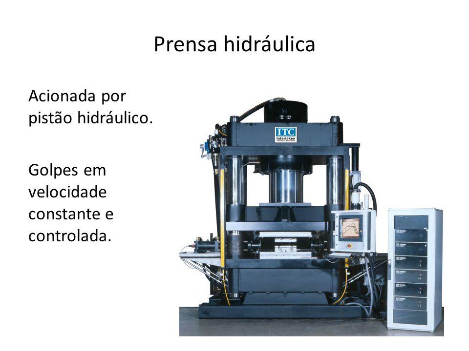 Prensa hidráulica Acionada por pistão hidráulico. Golpes em velocidade constante e controlada.